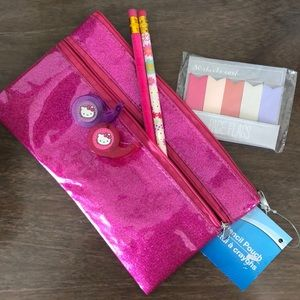 Glitter Pencil Bag with accessories